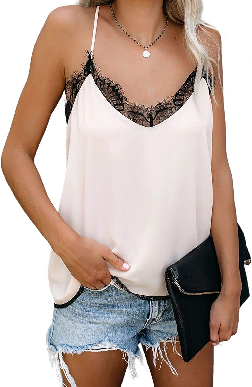 Arainlo Women's V-Neck Lace Stain Solid Spaghetti Strap Tanks Sleeveless Casual Cami Tops