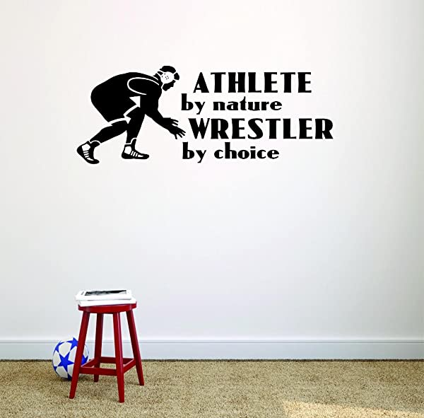 Vinyl Wall Decal Sticker Athlete By Nature Wrestler By Choice Wrestling Logo Icon Teen Boys Self Defense Fighting Bedroom Sports Sport Fighting UFC Competitive Strong Teens Picture Art Size 8x20