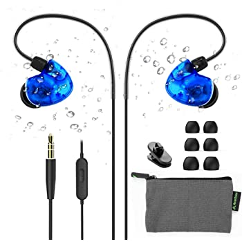 Avantree TR504 IPX5 Sweat Resistant Sport Earbuds Wired with Microphone for Small Ears Canals, Wrap Around Earphones with Comfortable Over Ear Hook, in Ear Running Headphones for Workout Exercise Gym