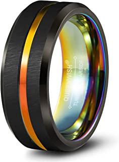 Queenwish Engagement Wedding Rings 8mm Brushed Black Rainbow Grooved Tungsten Carbide Promise Rings
