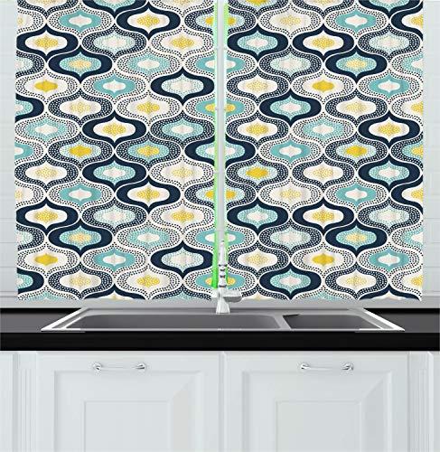 "Ambesonne Modern Kitchen Curtains, Geometric Morrocan Mediterrain Style Dots Ornamental Details Image Print, Window Drapes 2 Panel Set for Kitchen Cafe Decor, 55"" X 39"", White Blue"