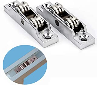 2Pcs Push-pull Window Pulley Zinc alloy Flat/Concave Double Wheel Balance Adjustment Angle Wheel Slide Doors Window pulley Metal Axles Window Pulley Door Sliding Two Rollers Wheel