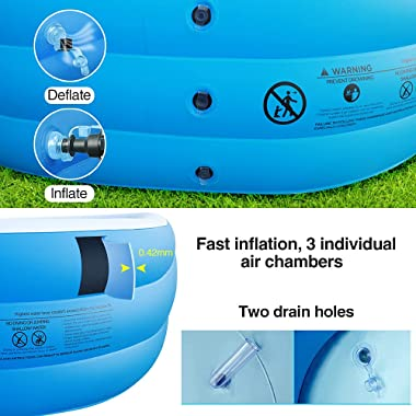 """Inflatable Swimming Pool for Adults Kids, 118"""" X 72"""" X 22"""" Full-Sized Family Swimming Pool, Blow Up Pool for Outd"""