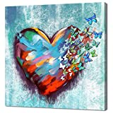 Derkymo Love Heart Butterflies Canvas Wall Art Beautiful Love Painting Wall Art Romantic Artwork for Home Apartment Bedroom Gift for Wife Women Anniversary Framed and Stretched Ready to Hang 24'x24'