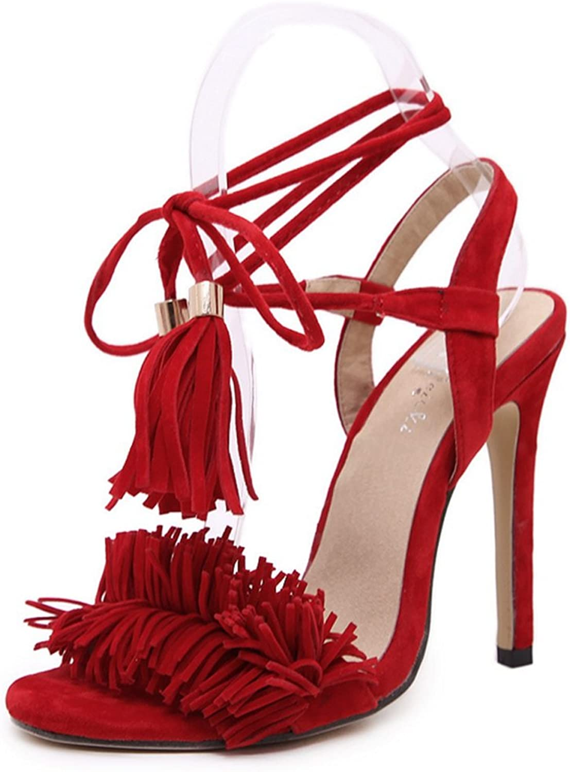 LZWSMGS Summer Ladies Suede Sandals Tassels Cross Straps High Heels Street Party Wedding shoes 35-40cm Ladies Sandals (color   Red, Size   7 US)