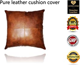 Leather Lovers 100% Lambskin Leather Pillow Cover - Sofa Cushion Case - Decorative Throw Covers for Living Room & Bedroom - 16x16 Inches - Mango Tan Antique Pack of 1