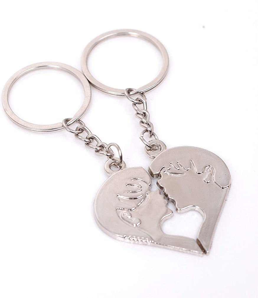 2 PCS Cute Lover Head Couple Keychain Decor Cool Keyring Pendant Charms Gifts for Teen Boy Girl Best Friends/Collections