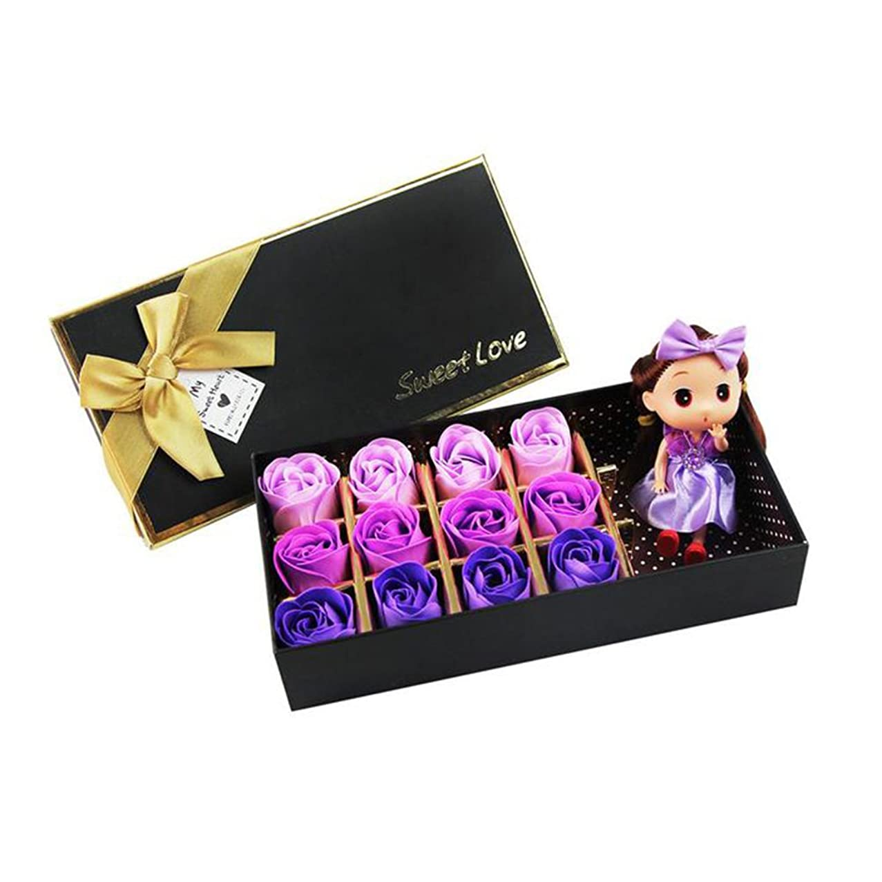 否認する自治的アクセサリーROSENICE 香り バラ 花 お風呂 石鹸 ギフトボックス (紫)
