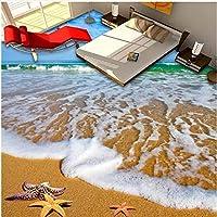 Xbwy 装飾壁画ビーチ海水浴室リビングルームダイニングルームフロアステッカー壁画ノンスリップ増粘Pvc防水壁画壁紙カスタム-350X250Cm