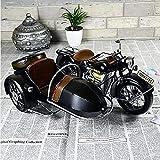 ZHQHYQHHX Decoración para el hogar Tres modelos de motocicleta Sidecar coches decoración hierro decoraciones fotografía hogar accesorios (L * W * H) 50 * 37 * 23 cm Adornos