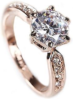 K.L.Y 指輪 レディース エタニティーリング 輝き2.0カラット ダイヤモンドCZ 6本爪エタニティデザイン 18金RGP 指輪 ピンクゴールド ギフト包装