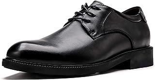CAIFENG Oxfords Vestido Zapatos más Altos para Hombres Llanura de 3 Ojos Lace Up Grueso Bloque Tacón de Cuero Genuino Suel...