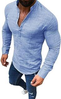 Blusas De Lino V En Con Cuello Y Mangas Tamaños Cómodos Largas Para Hombres Camisas De Lino Blusa Casual Básica De Negocio...
