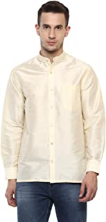 Khoday Williams Men's Cream Poly Silk Solid Shirt