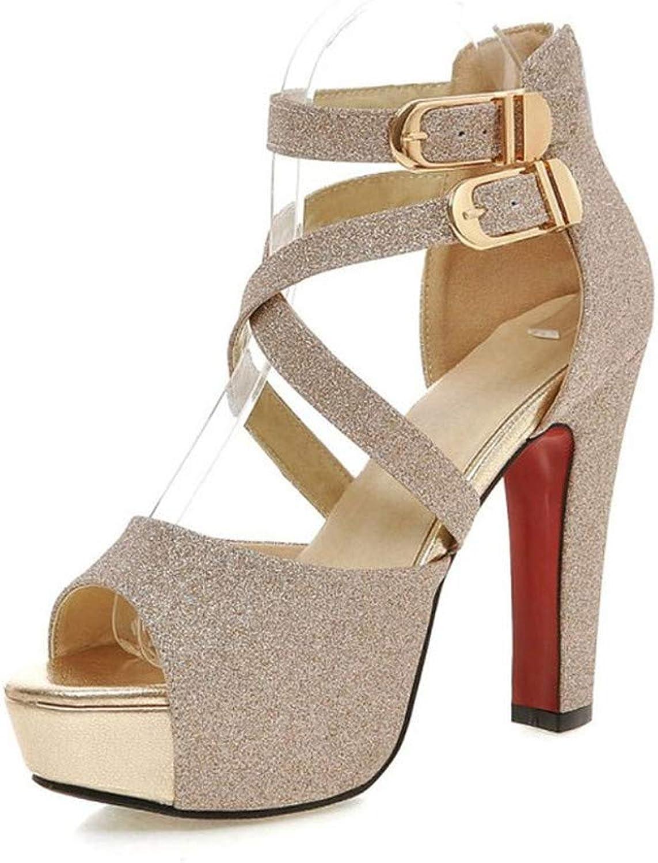 GAO-GEN1 Women's High Heels Leather Sandals Woman Silver golden shoes Black Plus Size Wedding Women High Heel Sandals