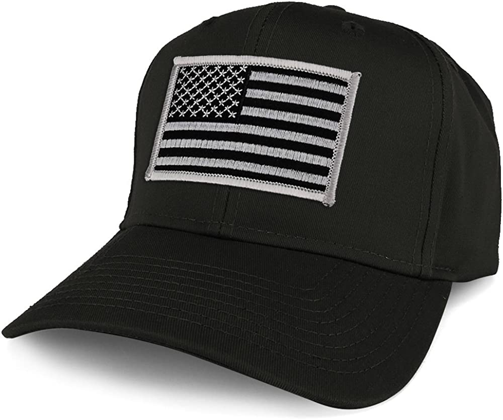 Armycrew XXL Oversize Black Grey USA American Flag Patch Solid Baseball Cap - Black
