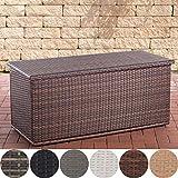 Poly-Rattan Auflagenbox Comfy l Gartentruhe für Kissen und Auflagen l erhältlich, Farbe:braun-meliert, Größe:150