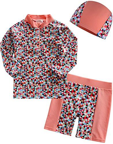 vaenait Baby 2T de 7T Sau gling Unisex Rashguard–Bañador con tapa 3pcs Set Cubic, Rosa, extra-large