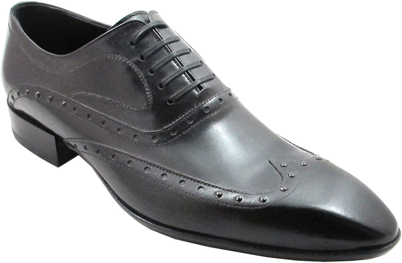 Doucals Men's Pointy Laceup Oxford Shoes 10197, Black