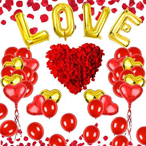 Valentijn Ballonnen Decoraties met 500 Kunstmatige Rozen Bloemblaadjes Liefde Ballonnen Hartballonnen Kit voor Valentijnsdag Bruiloft Verjaardagsvoorstel Decoraties
