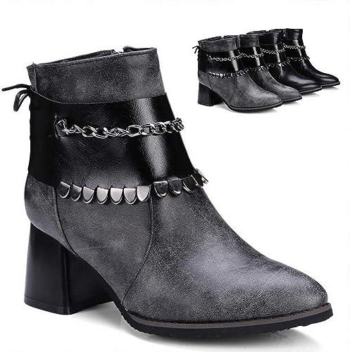 ZHRUI botas para mujer - botas cálidas de otoño e Invierno Moda botas para mujer Gruesas con botas Martin   34-43 (Color   gris, tamaño   43)