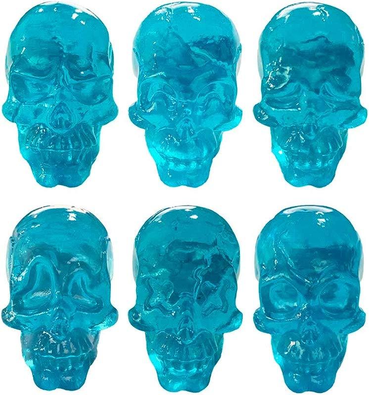 Panda Legends Cabinet Knobs Set Simulated Skull Transparent Resin Decorative Drawer Knobs For Kids 6 Pcs Blue