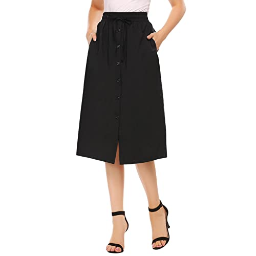 197191e23c Shine Women's A-Line High Waisted Button Front Drawstring Pleated Midi Skirt  with Elastic Waist