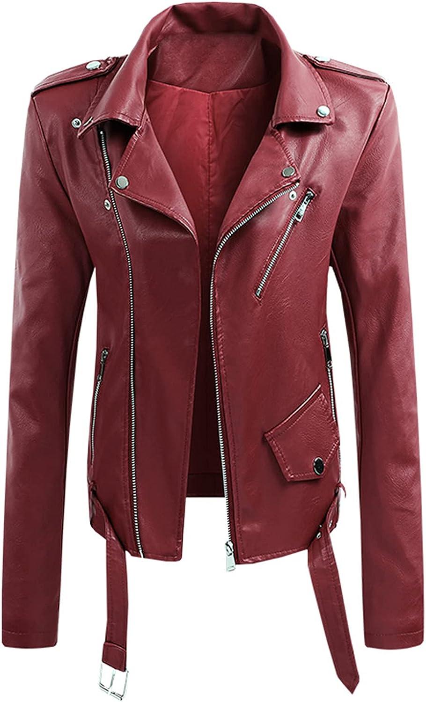 Womens Faux Leather Belted Cropped Jacket Casual Lapel Zipper Up Moto Short Biker Slim Fit Outwear Coat
