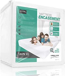 Crystal Trading Waterproof Mattress Encasement - Soft & Hypoallergenic Zippered Foam Encasing Protector - Fully Encased Bed Cover for Allergy Free & Bed Bug Proof Bedding (Twin XL)