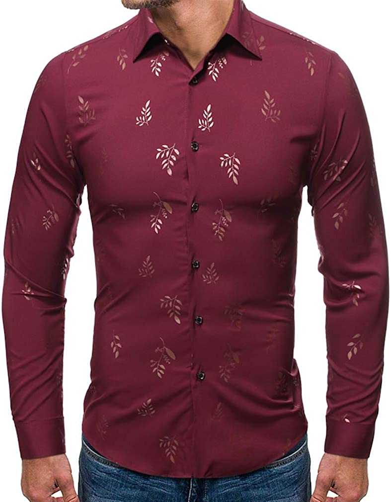 YD-zx Men's Spring Business Lapel Dress Shirt Slim Fit Casual Leaves Printed Shirt Long Sleeve Button Down Shirts