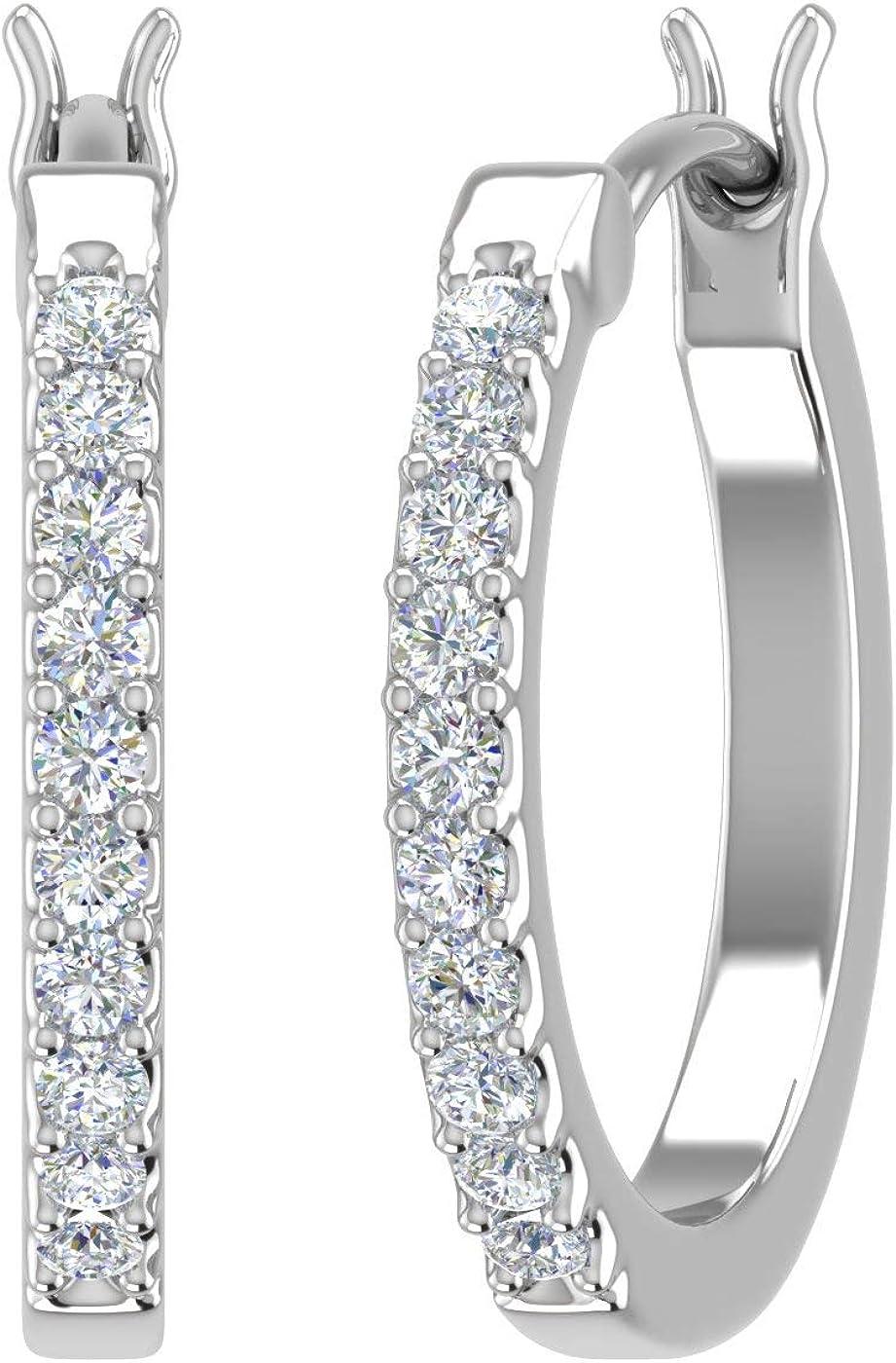 1/10 Carat Diamond Ladies Small Hoop Earrings in 10K Gold