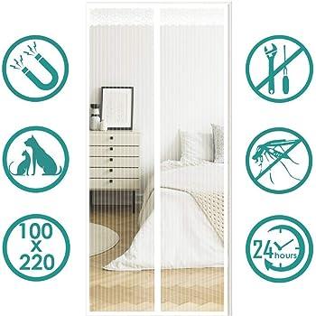 Blanc 70x190cm 28x75inch AMZERO Moustiquaire Porte Fenetre Magnetique Panneau de Porte magn/étique Anti Insecte Mouche Moustique Installation Facile pour Porte d Entr/ée Int/érieur//Patio//Coulissante