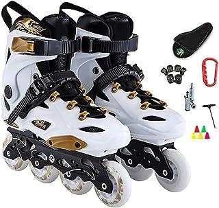 調整可能なインラインスケートインラインスケートスピードスケートスケートインラインスケートプロのスラロームインラインスケートアダルトローラースケートシューズスライドフリースケートパティンズ、サイズ:44 EU / 11 US / 10イギリス/ ...