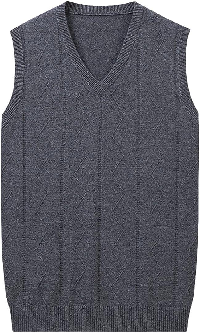 GYSAFJ Men's Winter Casual Warm Wool Vest Computer Knitted V-Neck Comfortable Sweater