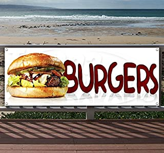 Burgers 13 oz Heavy Duty Vinyl Banner Sign with Metal Grommets, New, Store, Advertising, Flag, (Many Sizes Available)