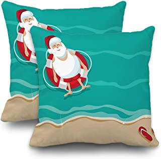 Batmerry Set of 2 Merry Christmas Decorative Pillow Covers 18x18 inch,Santa Beach Stock Christmas Tropical Flip Flops Funny Double Sided Throw Pillow Covers Sofa Cushion Cover