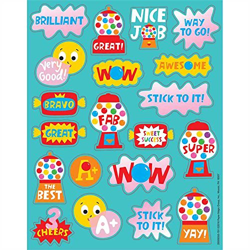 160 BUBBLE GUM Scented Stickers - 8 Sheets of 20 - Motivational Rewards EDUCATION Classroom Party Favors Teacher GUMBALL