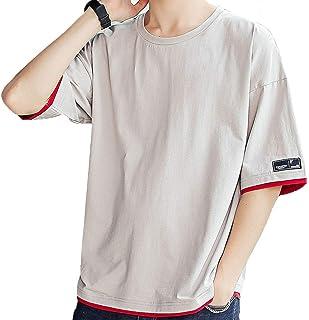 [ Smaids x Smile (スマイズ スマイル) ] トップス Tシャツ 半袖 ゆったり シャツ 無地 丸首 配色 カジュアル メンズ
