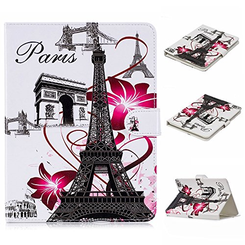 UGOcase Universal Case for 9.5 -10.5  Tablet, PU Leather Slim Magnetic Kickstand Cards Holder Wallet Case Cover for Kindle HD 10, iPad, Galaxy Tab T560NU, Nexus, RCA, LG, ASUS & More, Eiffel Tower
