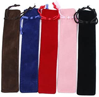 RAYNAG 25 Pack Colorful Velvet Pen Pouch Sleeve Holder Single Pen Bag Case Pencil Bag