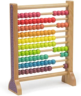 Imagination Generation Wooden Abacus Classic Counting Tool, Counting Frame Educational Toy with 100 Colorful Beads