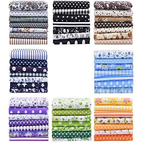 OVBBESS Paquete de 56 piezas de tela de algodón con estampado floral surtidos para manualidades, costura de 25 cm