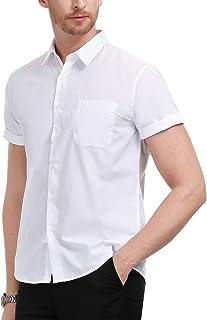 قمصان رجالية رسمية من بي جي بول جونز قمصان رسمية بأزرار سفلية قصيرة الأكمام قميص عمل