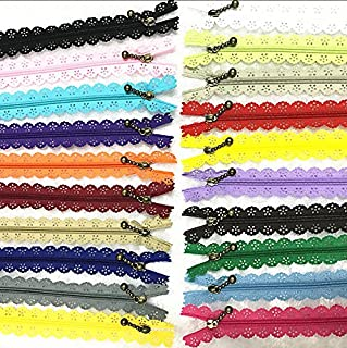 WKXFJJWZC 40Pcs Novelty 12inch Lace Closed End Zippers Nylon for Purse Bags for DIY Sewing Tailor Craft Bed Bag (20/Color) (12 inch)