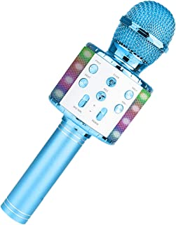 COSYOO Karaoke Microphone Wireless Handheld Karaoke Mic Speaker Portable Karaoke Machine with LED light for Party