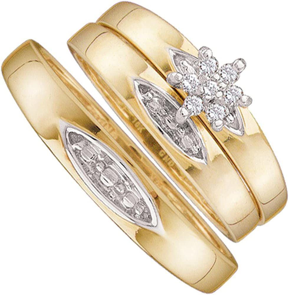 Sonia Jewels 10k Sales for sale Yellow Gold Long-awaited Trio His Round Hers Clust Diamond