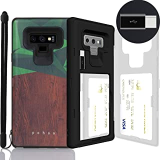 Galaxy Note 9 Case, SKINU [Note 9 Wallet Strap] Note 9 Charger Dual Layer Hidden Credit Holder Card Case with Wrist Strap Inner USB Type C Adapter and Mirror for Galaxy Note 9 (2018) - Wood