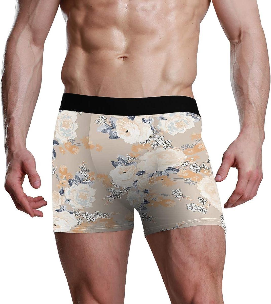 HangWang Men's Underwear Seamless Rose Pattern Flowers Breathable Boxer Briefs Low Rise Long Leg