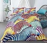 zpangg Rainbow Bedding Set Zebra Duvet Cover Set Animales Salvajes Línea de Cama para Adolescentes Colcha Colorida Colcha Juego de Cama Textiles para el hogar King