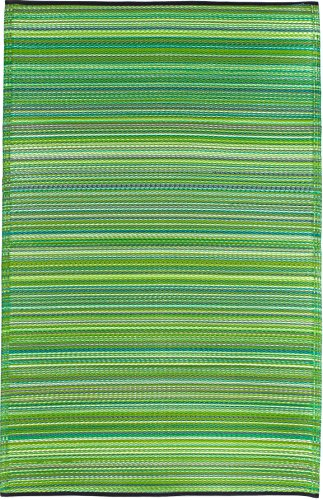 Fab Habitat Reversible Rugs | Indoor or Outdoor Use | Stain Resistant, Easy to Clean Weather Resistant Floor Mats | Cancun - Green, 6' x 9'